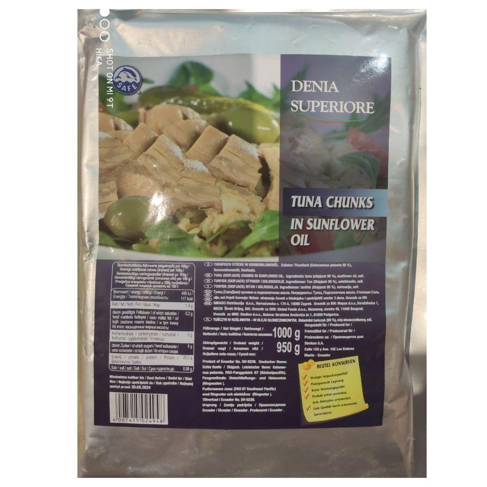 Тунець в соняшниковій олії DENIA Superiore, 1000/950 р (пакет) 16 шт/ящ