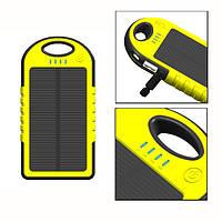 Power bank 5000mAh Yellow с солнечной батареей,прорезиненный корпус,2xUSB