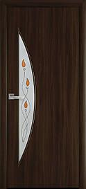 Двері міжкімнатні Місяць скло Р1 Горіх 3D, 600