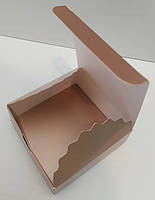 Коробка для конфет 4 шт Коричневая-металл. (мини-бокс) 83*83*30мм
