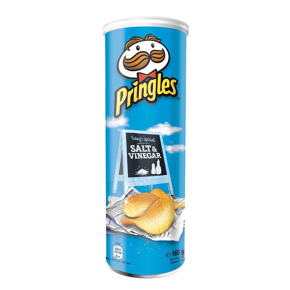 Чіпси Pringles Salt & Vinegar, сіль та оцет, 165г, 19 шт/ящ