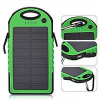 Power bank 5000mAh Green с солнечной батареей,прорезиненный корпус,2xUSB