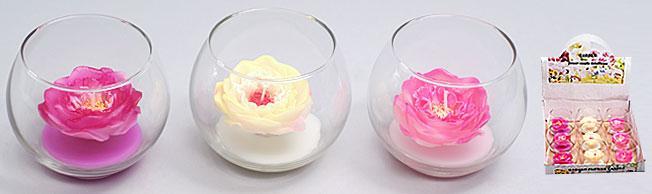 Свеча в стеклянном горшочке 9.8см, 3 вида в дисплей коробке BonaDi 423-F24