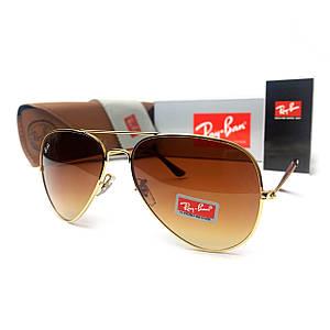 Солнцезащитные очки R-B Aviator Капли 3026 Золото Коричневый