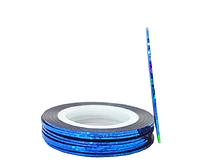Стрічка-скотч для декору нігтів 1 мм синій голограма, фото 1