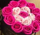 Подарочный РОЗОВЫЙ набор мыла из роз в шляпной коробке | Мыльные цветы, фото 4