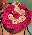 Подарочный РОЗОВЫЙ набор мыла из роз в шляпной коробке | Мыльные цветы, фото 3