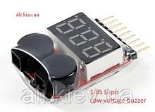 Сигнализатор тестер, индикатор разряда аккумулятора 1S-8S Li-Po, LiIon, LiMn, LiFe радио управляемые модели