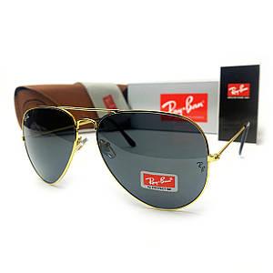 Солнцезащитные очки R-B Aviator Капли 3026 Золото Серый