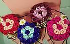 Подарочный СИНИЙ набор мыла из роз в шляпной коробке | Мыльные цветы, фото 4