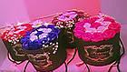 Подарочный СИНИЙ набор мыла из роз в шляпной коробке | Мыльные цветы, фото 5