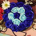 Подарочный СИНИЙ набор мыла из роз в шляпной коробке | Мыльные цветы, фото 3