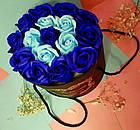 Подарочный СИНИЙ набор мыла из роз в шляпной коробке | Мыльные цветы, фото 2
