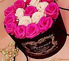 Подарочный РОЗОВЫЙ набор мыла из роз в шляпной коробке | Мыльные цветы, фото 2