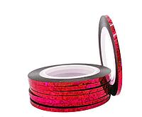 Стрічка-скотч для декору нігтів 2 мм червоний голограма, фото 1