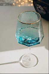 Бокал для вина из голубого стекла Кристалл 600 мл
