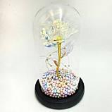 Вічна троянда в колбі золота з різнобарвною СВІТЛОДІОДНИМ підсвічуванням 16 см | романтичний подарунок нічник троянда GOLD, фото 3