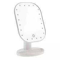 Зеркало косметическое прямоугольное закругленными углами на подставке с сенсорным включением 20 диодов, HH071