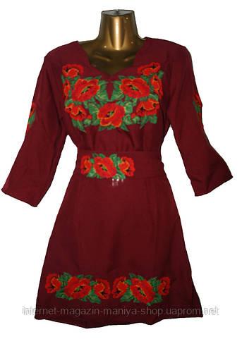 Женское платье с вышивкой батальное