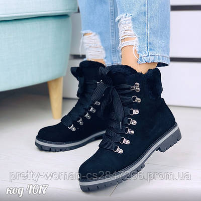 Чорні черевики з еко-замші  40 розмір
