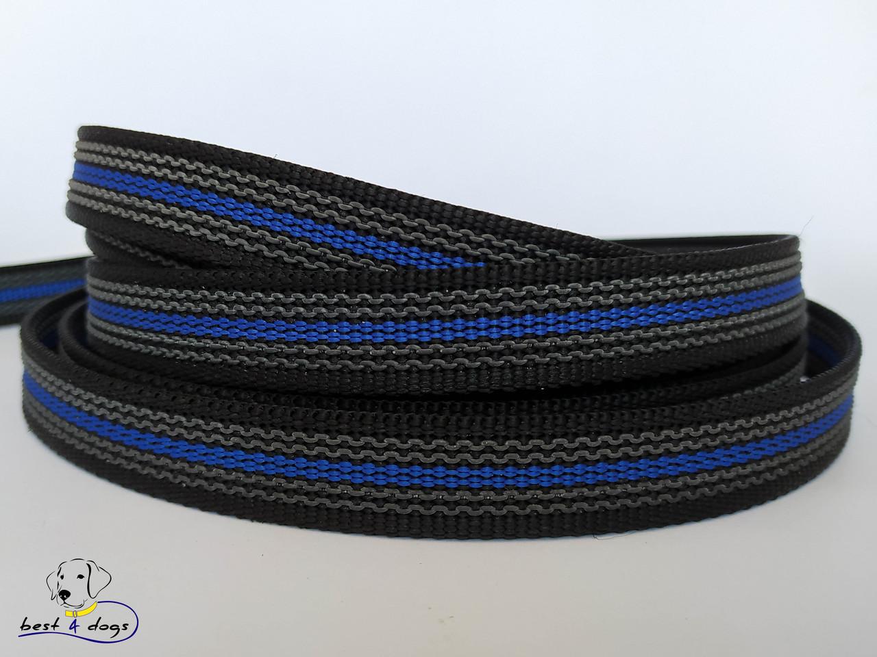 Повідець прогумований Чорно-Синій 20мм