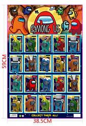 Вся коллекция героев популярной игры Among Us (Амонг Ас) + 1 карточка. Набор на 20 героев