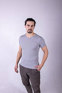 Однотонна футболка прилеглого силуету (меланж)