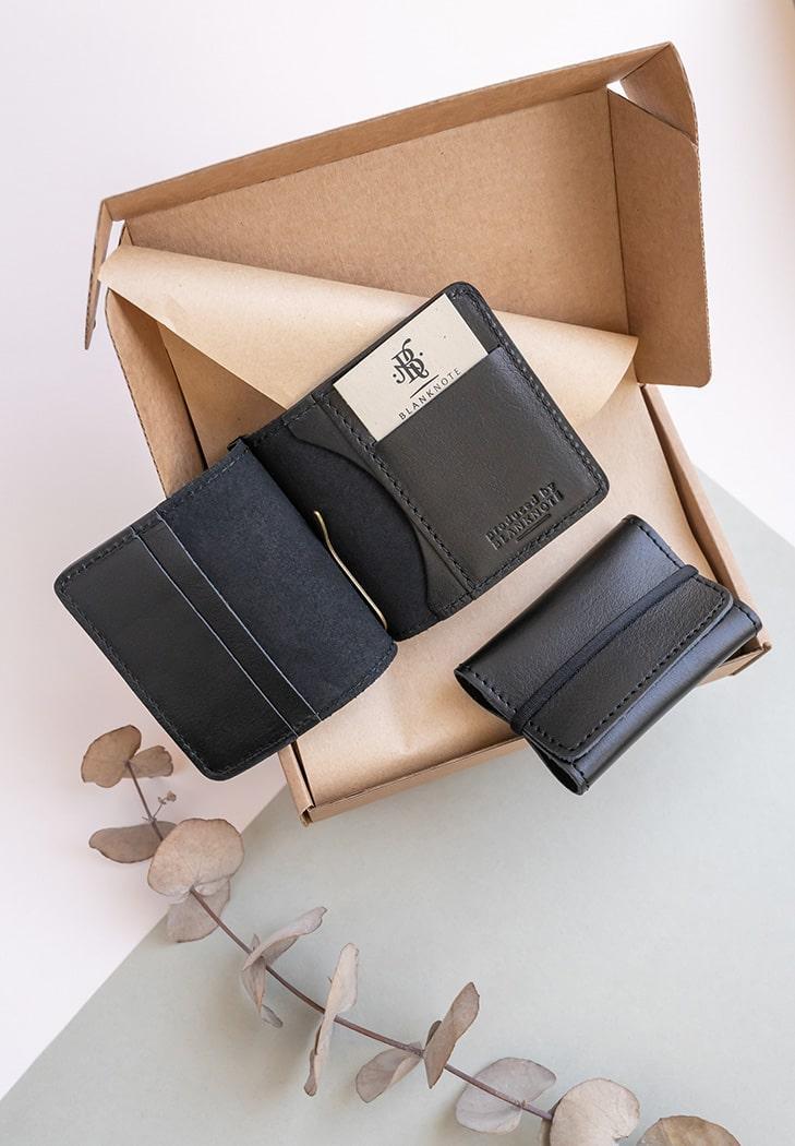 """Мужской подарочный набор кожаных аксессуаров """"Сан-Франциско"""": зажим для денег и кард-кейс. Цвет черный"""