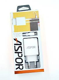 Зарядное устройство Aspor A826 + кабель Micro USB (orig 100%) White
