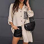 Стильная рубашка женская удлиненная свободного кроя (Норма, Батал), фото 2