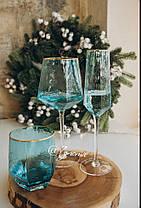Стакан для напитков из голубого стекла Кристалл 450 мл, фото 3