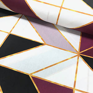 Ткань поплин геометрические фигуры крупные черно-бордовые с оранжевой полоской (ТУРЦИЯ шир. 2,4 м)
