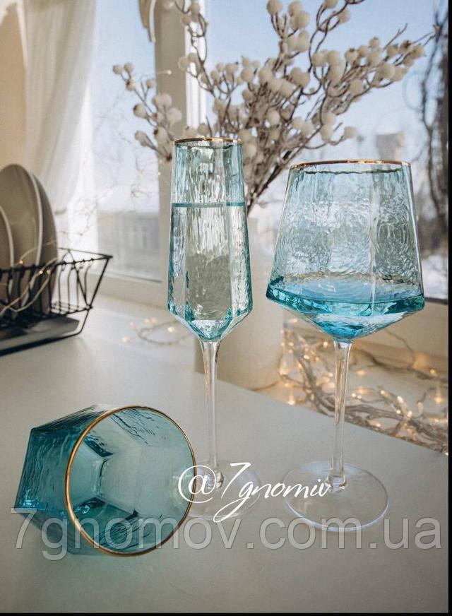 Бокалы и стаканы Кристалл Бирюза из голубого цветного стекла