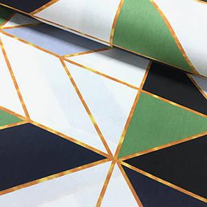 Ткань поплин геометрические фигуры крупные черно-зеленые с оранжевой полоской (ТУРЦИЯ шир. 2,4 м)