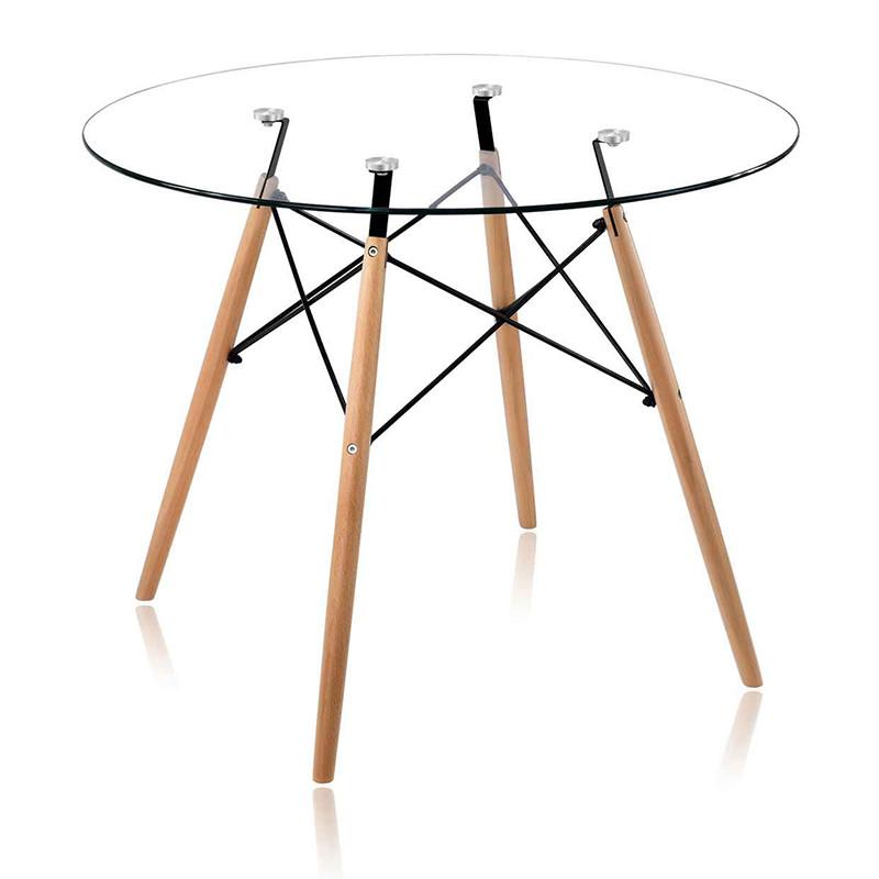 Круглий стіл Імз прозорий D80 см на букових ніжках від SDM Grouр