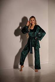 Пижама (кимоно +штаны+майка), Пижама женская тройка Большого размера