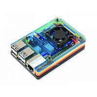 Корпус для Raspberry Pi 4 Model B Case Acrylic Rainbow with Fan