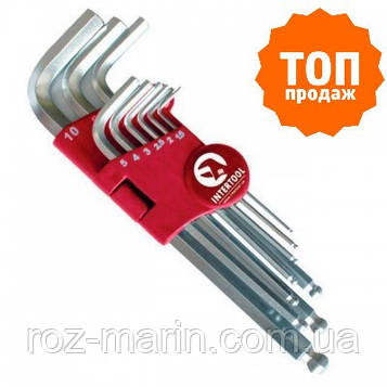 Набір Г-образних шестигранних ключів з кулястим наконечником Cr-V INTERTOOL HT-0603