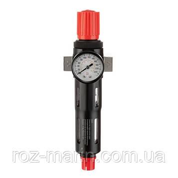 """Фильтр для очистки воздуха с редуктором 1/4"""", 5мкм, 1200 л/мин, металл, профессиональный"""