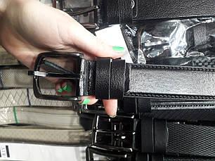 Ремень мужской кожаный черный классический ширина 4 см Р-1104, фото 2