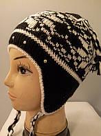 """Детская занаявязаная зимняя шапка """"Финка """" для девочек."""