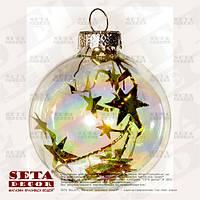 """Новогодний шар на ёлку мыльные пузыри """"Золотые звезды"""" 6 см."""