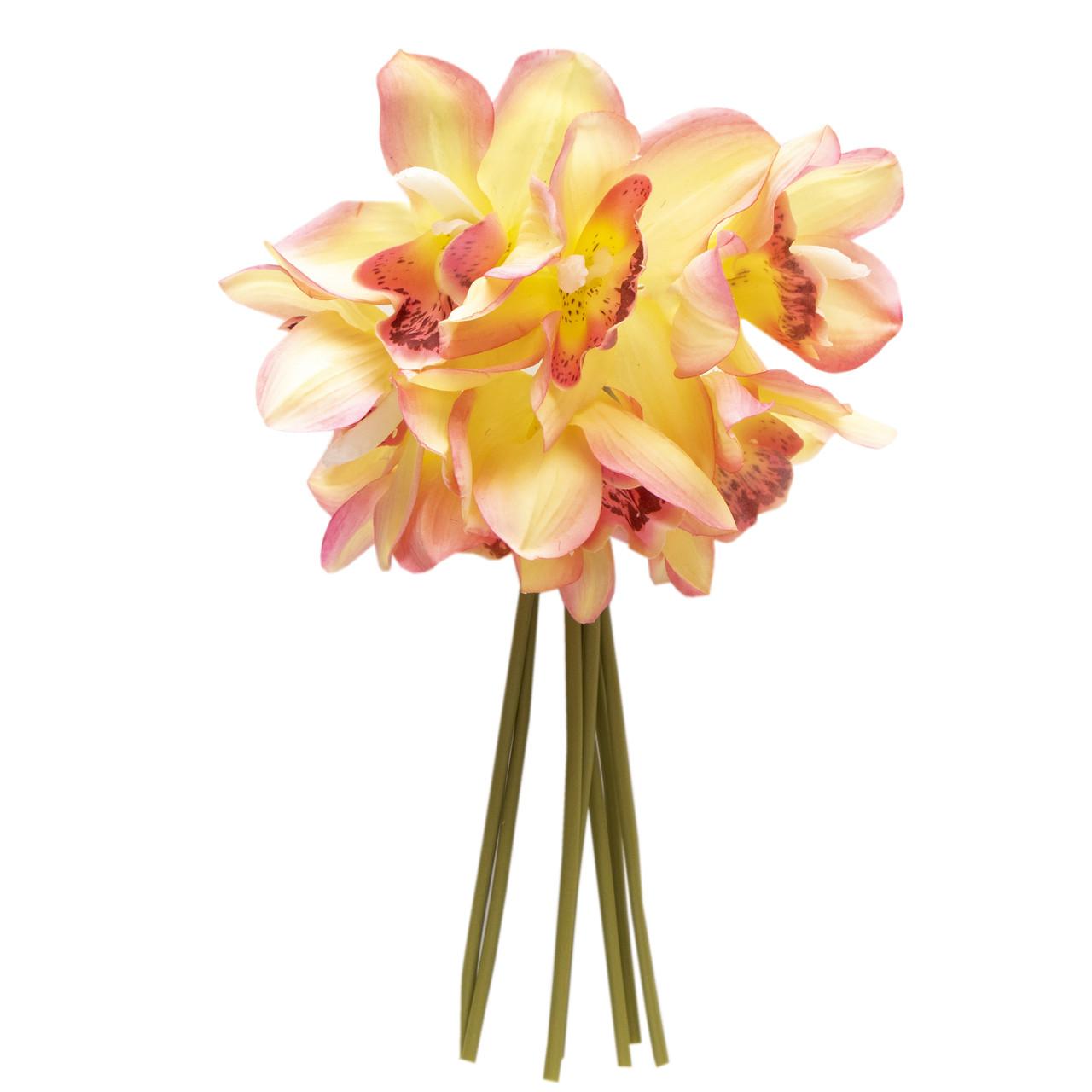 Штучна квітка міні-орхідея, 30 см, рожевий, тканина, пластик (631307)