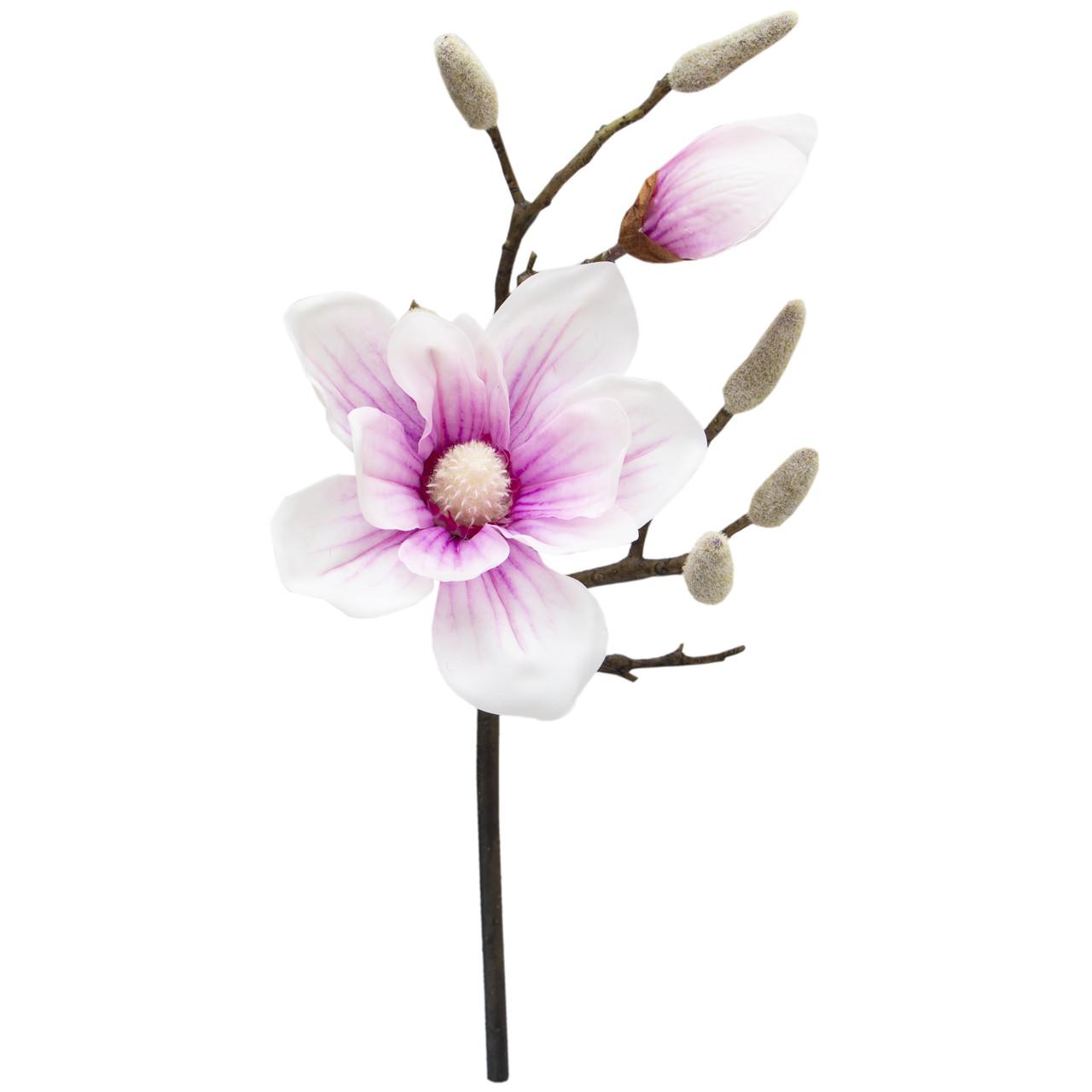Штучна квітка Магнолія, 45 см, біло-рожевий, тканина, пластик (631482)