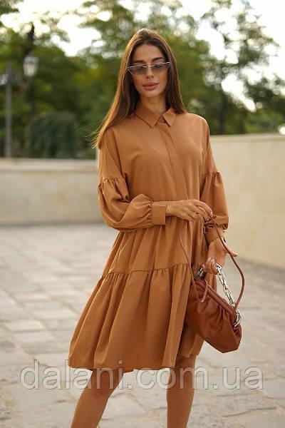 Женское коричневое платье свободного кроя