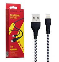 Кабель USB-Lightning Borofone BX39 Beneficial 2,4A/1м черно-белый