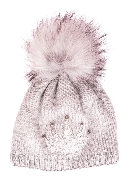 Вязанная шапка для девочки (флис), р. 48-52