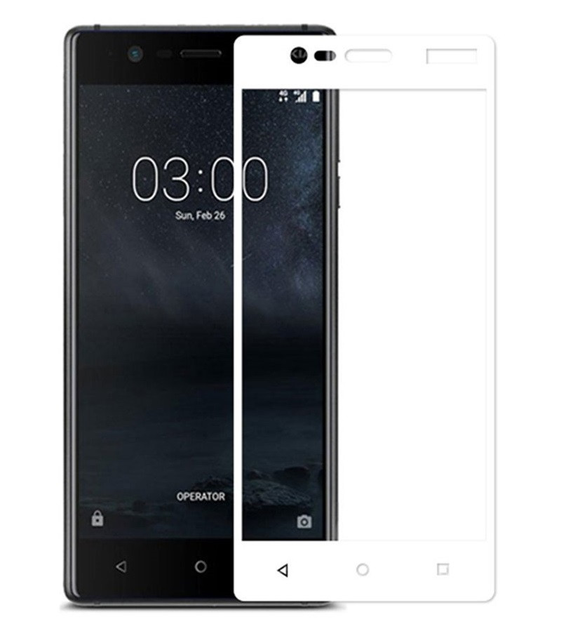 Защитное стекло Nokia 3 TA-1020 | TA-1028 | TA-1032 Full Glue (0.3 мм, 2.5D) белое