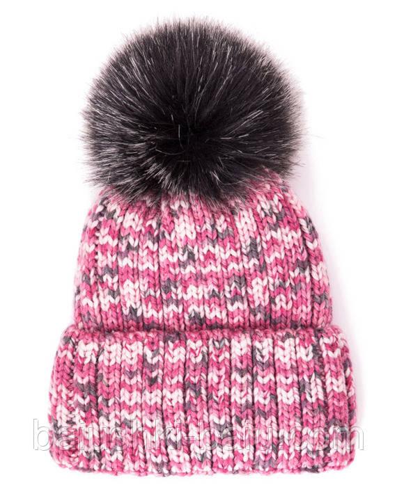 Вязанная шапка на флисе детская, р. 50-54