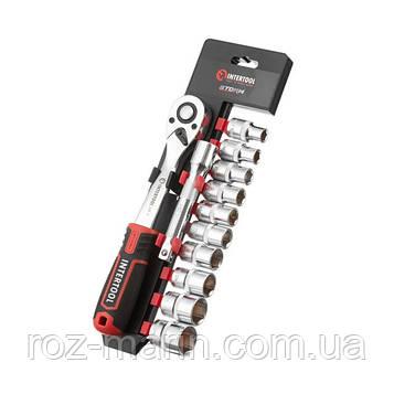 """Набор головок 1/2"""" 10-24 мм., удлинитель, рукоятка с храповым механизмом 72 зуба, 12ед., Cr-V STORM"""